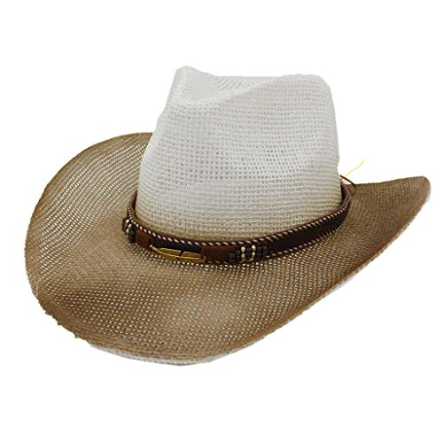 Read About Excursion Sports Woven Straw Cowboy Cowgirl Hat, Vintage Leisure Sun Protection Western F...