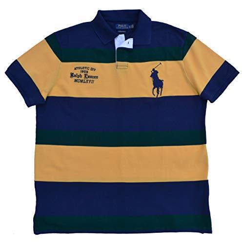 Ralph Lauren Poloshirt Big Pony Polo Custom Slim Fit Blau Gelb Grün gestreift (M)