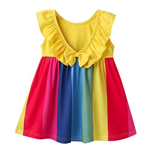 Cover Mädchen Kleider Ärmellose Kleid Regenbogen Gestreiftes Kleid Sommerkleid