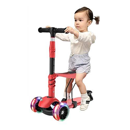 GZZ 3-6 Jahre Altes Baby Kann EIN Dreirädriges Laufrad Fahren Flash DREI-in-Eins-Anfänger Jungen Mädchen Baby Und Kinder Können Pedalrutsche Fahren Das Erste Wanderrad Für Kinder (Color : Red)