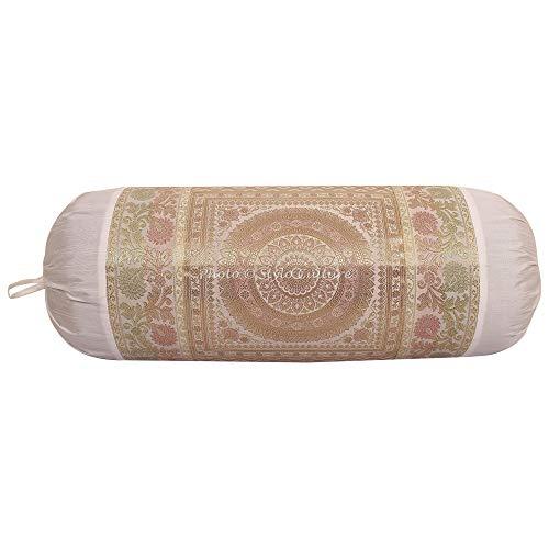 Stylo Culture Polidupion Étnica Cilíndrica Fundas De Almohadas 70x40 Yoga Decorativo Fundas para Almohada Bolster Covers Blanco Brocado Jacquard Mandala Grande For Sofa (1 Pc)