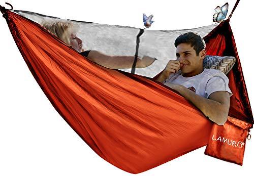 Amaca 2 persone(320 x 200 cm, 500KG) con Zanzariera | Tenda Amaca con Cerniera in Acciaio Doppio Accesso | Resistente Rete Contro le Zanzare per Campeggio e Outdoor | Inclusi Moschettoni e Custodia