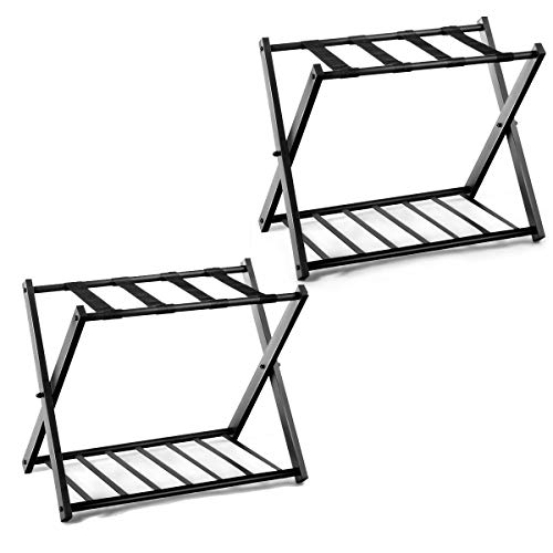 Purchase Safstar Folding Luggage Rack with Shoe Shelf, Metal Suitcase Stand, Portable Baggage Holder...