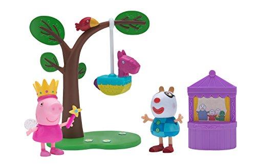 Jazwares 97026 - Peppa Wutz Geburtstagsfeier Spielset mit beweglicher Peppa und Pedro Pony Spielfigur, Baum mit Pinata und Puppentheater, Original Peppa Pig Spielzeug Set für Kinder ab 2 Jahren