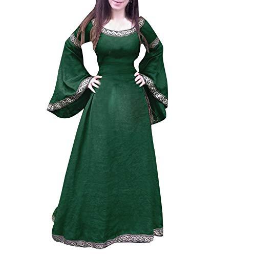 Zimuuy Damen Kleider Karneval Kostüm Mittelalter Kostüm Luxuriös Mittelalterlichen Adels Palast Prinzessin Kleid Unregelmäßige Königin Kostüm (Grün, L)