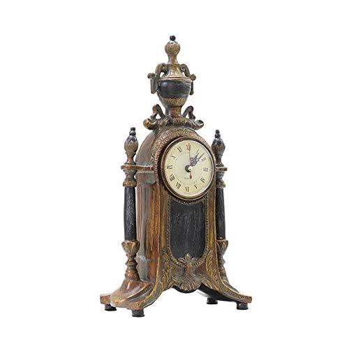Xiaokeai Reloj de Resina Retro Péndulo Péndulo Grande Antiguo Mantel de batería de batería Reloj Número Romano Movimiento Micro-acústico