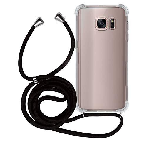MyGadget Funda con Cuerda para Samsung Galaxy S7 Edge - Carcasa Transparente en Silicona TPU Suave con Cordón - Case y Correa Colgante Ajustable - Negro