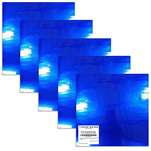 Royal Blue Metallic Vinyl Adhesive, 12' x 12' Vinyl Adhesive Sheets for Silhouette Cameo, Cricut Maker Explore, Scrapbooking, Stickers, Decals Peel n Stick by Turner Moore (Blue Metalized Vinyl, 5-PK)