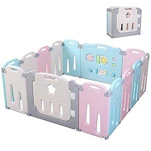 Bamny Parque Infantil Bebe con Puerta de Plástico Extensible, Corralito Bebe Plegable para Niños de 0 a 6 Años (Rosa + Azul + Luna, 12 + 2)