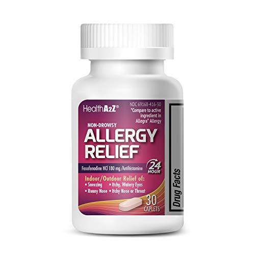 HealthA2Z Fexofenadine Hydrochloride 180mg, Antihistamine for Allergy Relief,Non-Drowsy,24-Hour, 30 Count Coated Caplets