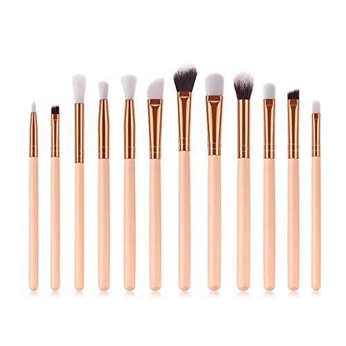 Ladud HZSDZ-12-01 Synthetische Foundation Puder Concealer Premium Lidschatten Make-up 12-teiliges Pinselset (Khaki + Gold), Unisex-Erwachsene, Einheitsgröße