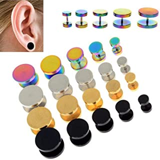 2 pcs Gold Black Stainless Steel Cheater Faux Ear Plugs Flesh Tunnel Gauges Tapers Stretcher Earring 6-14 mm,Silver,12mm