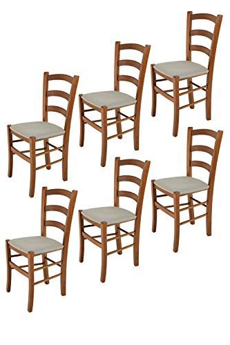 Tommychairs - Set 6 sillas Venice para Cocina y Comedor, Estructura en Madera de Haya Color Nuez Claro y Asiento tapizado en Tejido Color Gamuza