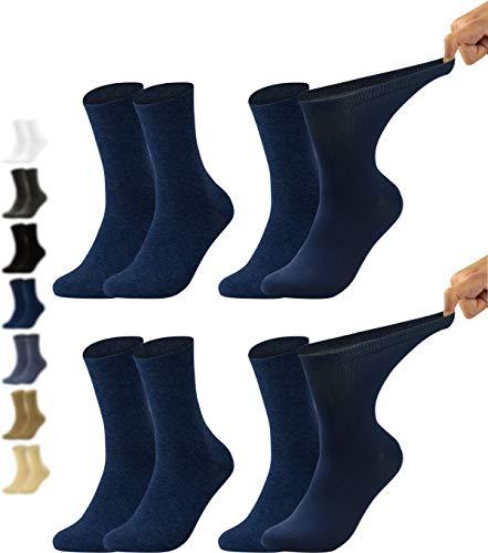 Vitasox 31123 Herren Gesundheitssocken extra weiter Bund ohne Gummi, Venenfreundliche Socken mit breitem Schaft verhindern Einschneiden & Drücken, 4 Paar Marine 39/42