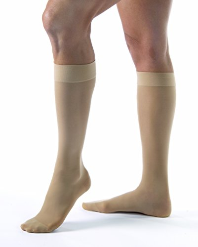 JOBST UltraSheer Knee High with SoftFit Technology Band, 15-20 mmHg Compression Stockings, Closed Toe, Medium, Natural