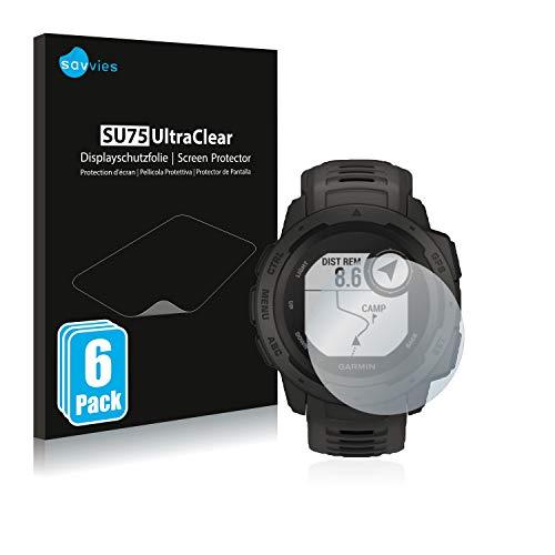 savvies 6-Pezzi Pellicola Protettiva Compatibile con Garmin Instinct Solar Protezione Schermo Trasparente