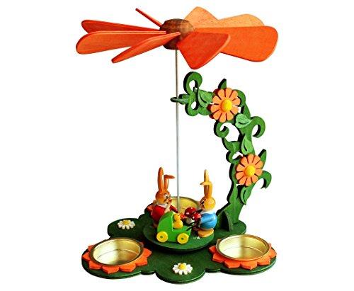 Wichtelstube-Kollektion Teelicht Osterpyramide - Hasenfamilie - Kinderwagen - ca. 21 * 17 * 24 cm