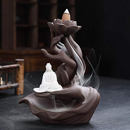 XUDREZ Soporte de incienso de loto de cerámica, quemador de incienso de cascada, estilo tradicional, soporte de incienso para decoración del hogar (3)