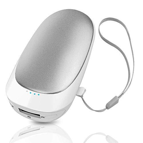 DOOK oplaadbare handwarmer USB-C zakverwarmer 5200 mAh oplaadbare powerbank dubbelzijdig verwarming elektrische handwarmer, beste wintergeschenk voor vrouwen mannen, zilver