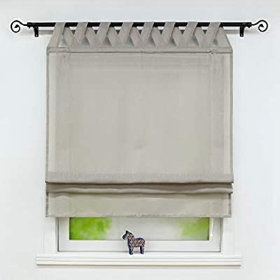 Yujiao Mao Window Curtain Tap Top Roman Shades for Kitchen Bedroom Bathroom Drape Liftable, 1pc(Gray,W31 x L55 inch