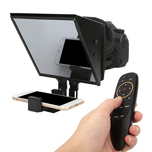 Yunir Teleprompter, Supporto Teleprompter Portatile in Lega di Alluminio Supporto Fotocamera Reflex mirrorless e Scatto Massimo da 6,5 Pollici per telefoni cellulari, per riprese Video, interviste