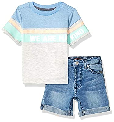 7 For All Mankind Baby Boys Classic Printed T-Shirt and Denim Short Set, Heather Grey/Light Wash, 18M