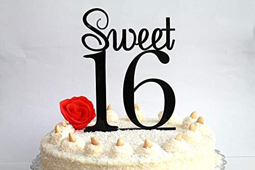 Taart Topper Sweet Th Verjaardag Zoete Zestien Zwart Gelukkig Th Verjaardag Party Decor Tafeldecoratie Keuze uit Kleuren Beschikbaar width 5
