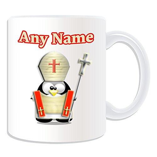 UNIGIFT gepersonaliseerd geschenk - bisschop mok (Penguin in kostuum ontwerp wit) Naam boodschap Unieke dom grappige nieuwigheid Wereld paus rooms-katholieke kerk christelijke Mitre