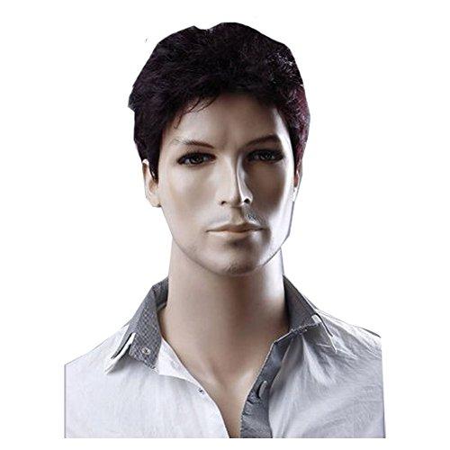 KLIGHT Hot Businessmen Perücke, braun-schwarzes Haar, Männer echt aussehendes Haar, Perücke Kanekalon Perücke