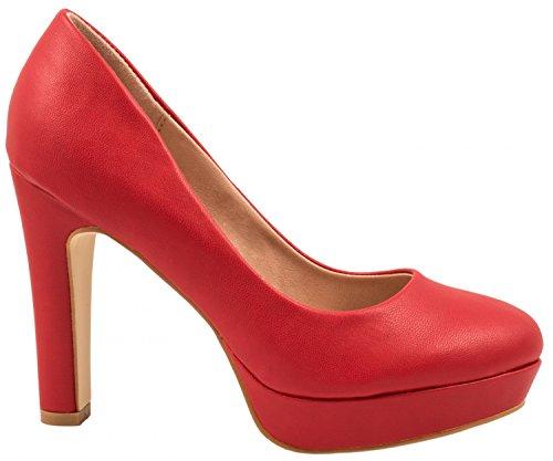 Elara Jumex Damen High Heels Schuhe Plateau Pumps Chunkyrayan E22321-Rot-38