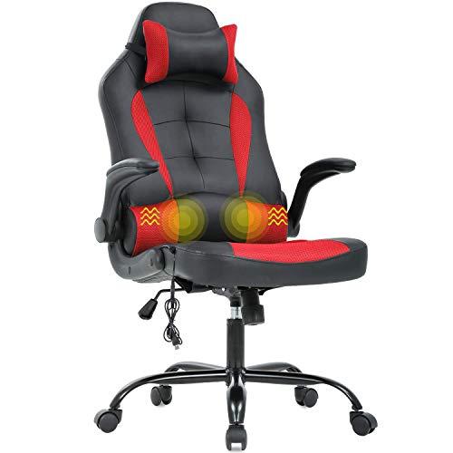 Silla de oficina para juegos, silla de escritorio, de masaje, ergonómica, de piel sintética, con apoyo lumbar, reposabrazos, silla giratoria de carreras para mujeres y adultos, color azul y rojo
