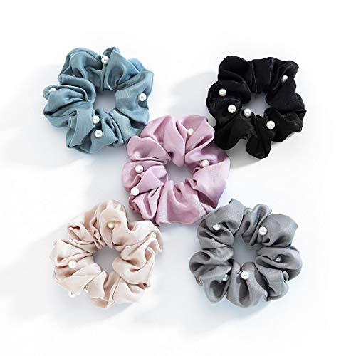 Genglass Hair Scrunchies Perlhaarseil Polyester Pink Haarschmuck für Frauen und Mädchen 5PCS