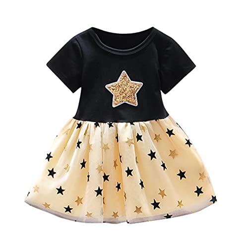 YWLINK Vestido Tutú para Bebé Malla Vestidos para NiñAs Princesa Infantil Falda Fiesta Manga Corta/Sin Mangas AlgodóN Punto Lindo Vestido Princesa De Hilo De Red con Estampado De Estrellas