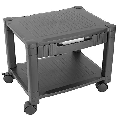 PrimeMatik - Mesa Auxiliar 2 Niveles para Impresora con Ruedas y cajón