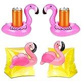 JAHEMU Portabicchieri Gonfiabili per Piscina Flamingo Braccioli Bambini Anello di Nuoto Gonfiabile Braccio per Piscina, Spiaggia, Festa (4 Pezzi)