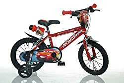 16 inch 4-7 years 105-135cm 12inch 2-5 years 85-110cm, 14inch 3-6 years 100-120cm, kidbike child-bike childrens-bike bicyle boy MTB red toy-bike dino-bike tüv-approved training-wheels security chainguard mudguard light modern red steel MTB boy-bicyle...