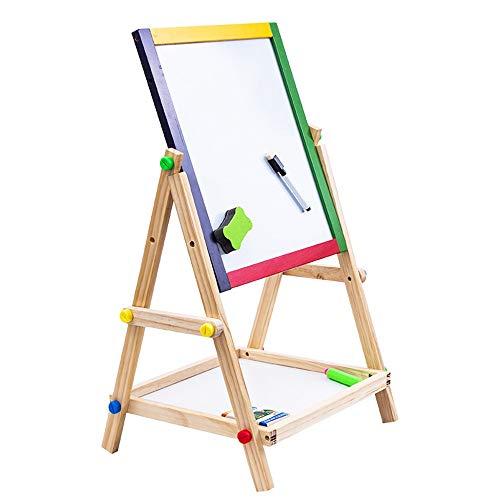Tekentafel voor Kinderen Children's Houten Dubbelzijdig Black and White Board Schildersezel van de lijst met de klok Stabiele Ontwerp en Gezonde Materialen (Color : Natural)