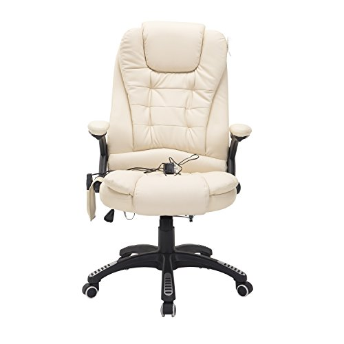 HOMCOM Deluxe Reclining Faux Leather Office Computer Chair 6-Point Massage High Back Desk Work Swivel Chair Cream White