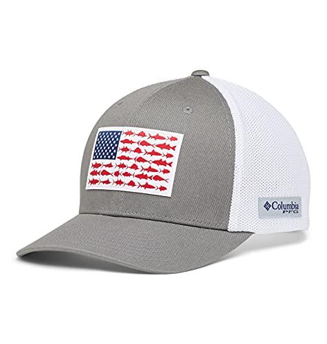 Columbia Unisex PFG Mesh Fish Flag Ball Cap, Titanium, White, Small/Medium,Titanium/White,Small-Medium