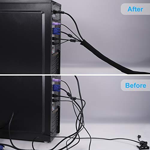 Universal Neopren Klettverschluss Kabelschlauch, 2x1.5 M Einstellbare Flexible Cord Organizer Kabelkanal Kabelhülle Schutz-System für DES TV, Computer, Heimkino (150x13,5cm,150x10,2cm)