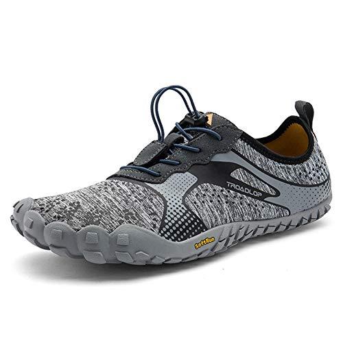 Sport Outdoor Chaussures De Trail Running,Maille Trekking Homme Gym Fitness Respirant Barefoot Shoes Minimalistes Résistant À l'usure Noir Gris Bleu Grande Taille 39-46,Gray,42