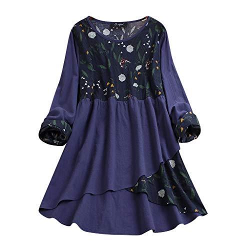 MRULIC T-Shirt Damen Tops Bluse Gedruckt Kurzarm Casual Tunika Oberteile Dreifacher Farbblock Streifen Frühling Sommer Shirt Frauen Locker Beiläufig Tanktops(G-Blau,EU-46/CN-3XL)