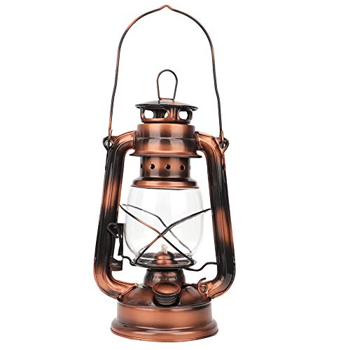 Vintage Kerosin Lampe, rustikale Eisen Laterne Licht Nachtlicht Hängelaterne Camping Laterne Dekoration Geschenk für drinnen/draußen (Bronze)