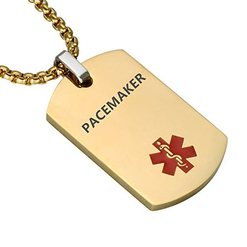 LiFashion LF Stainless Steel PACEMAKER Medical Alert Dog Tag ID Pendant Caduceus Necklace for Men Women Teens Health Alert Monitoring Systems,Gold