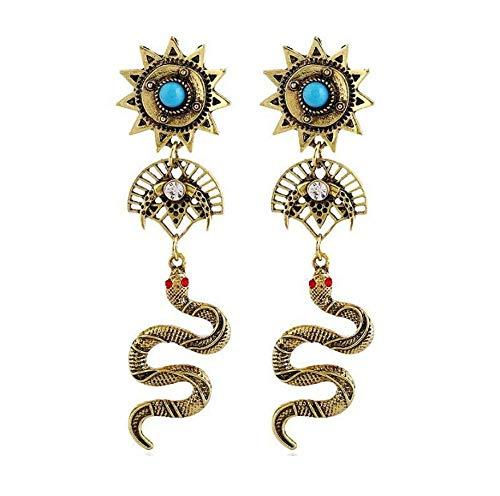 Nobranded Mujeres Bohemian Drop Dangle Pendientes Vintage Serpiente Forma de Abanico Brújula...