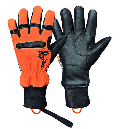 Rostaing Trexs Squale Handschuhe Kinder, Schwarz Palme Orange Rückseite, 9/L