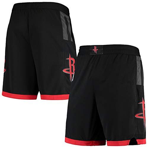 Niubai Herren-Shorts Houston Black, Rockets 2020/21 Association Edition Swingman Basketball-Shorts für Herren