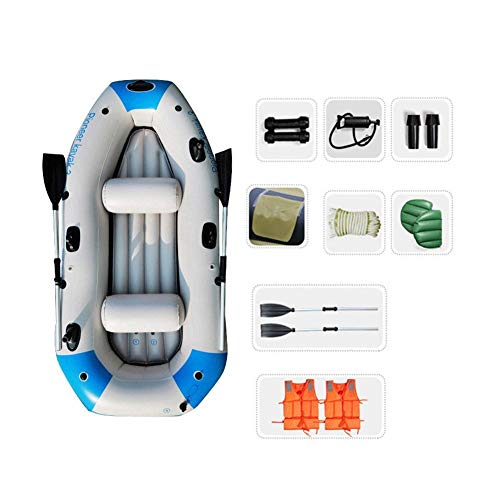 WNN 3-Persona del Flotador del Barco del Agua Conjunto Pro-Series Canoa del kajak Inflable de Pesca con los remos (Azul) URG (Size : Standard)