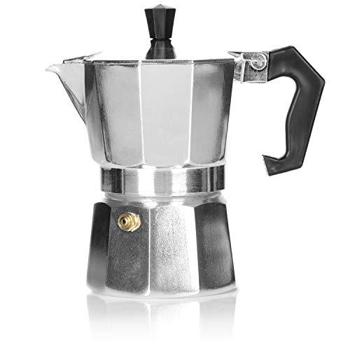 COM-FOUR® 1x cafetera espresso para 3 tazas - cafetera moka de diseño clásico - cafetera - cafetera espresso - cafetera italiana
