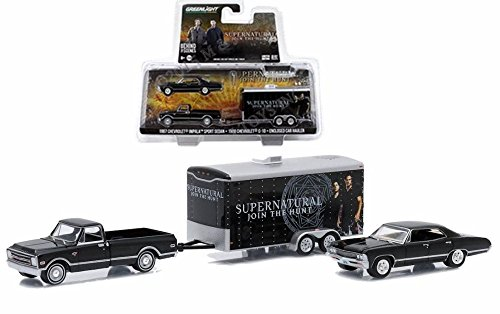 Greenlight 1967 Chevy Impala SS Supernatural w/ C-10 and Trailer, Black 51006 - 1/64 Scale Diecast Model Toy Car